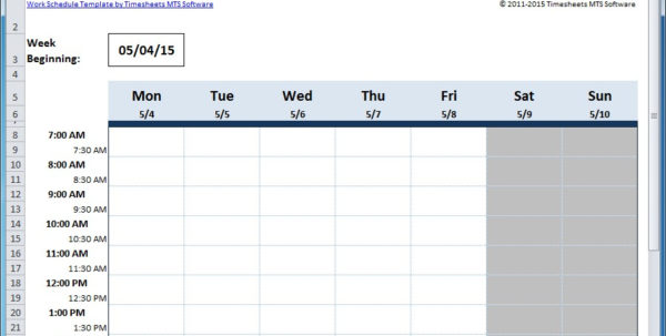 Free Employee And Shift Schedule Templates Throughout Weekly Employee Shift Schedule Template Excel