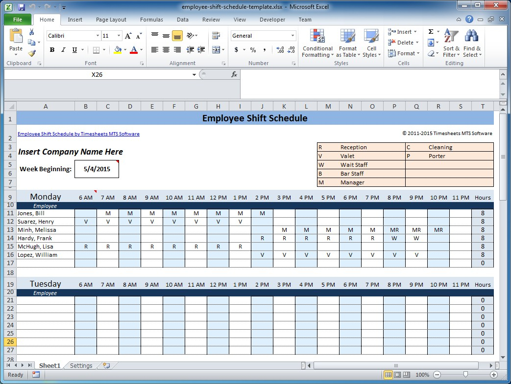 Free Employee And Shift Schedule Templates With Employee Schedule Template Excel