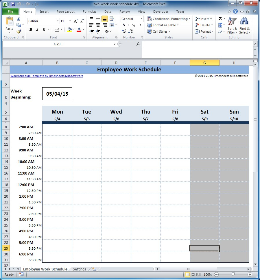 Free Employee And Shift Schedule Templates With Employee Weekly Schedule Template
