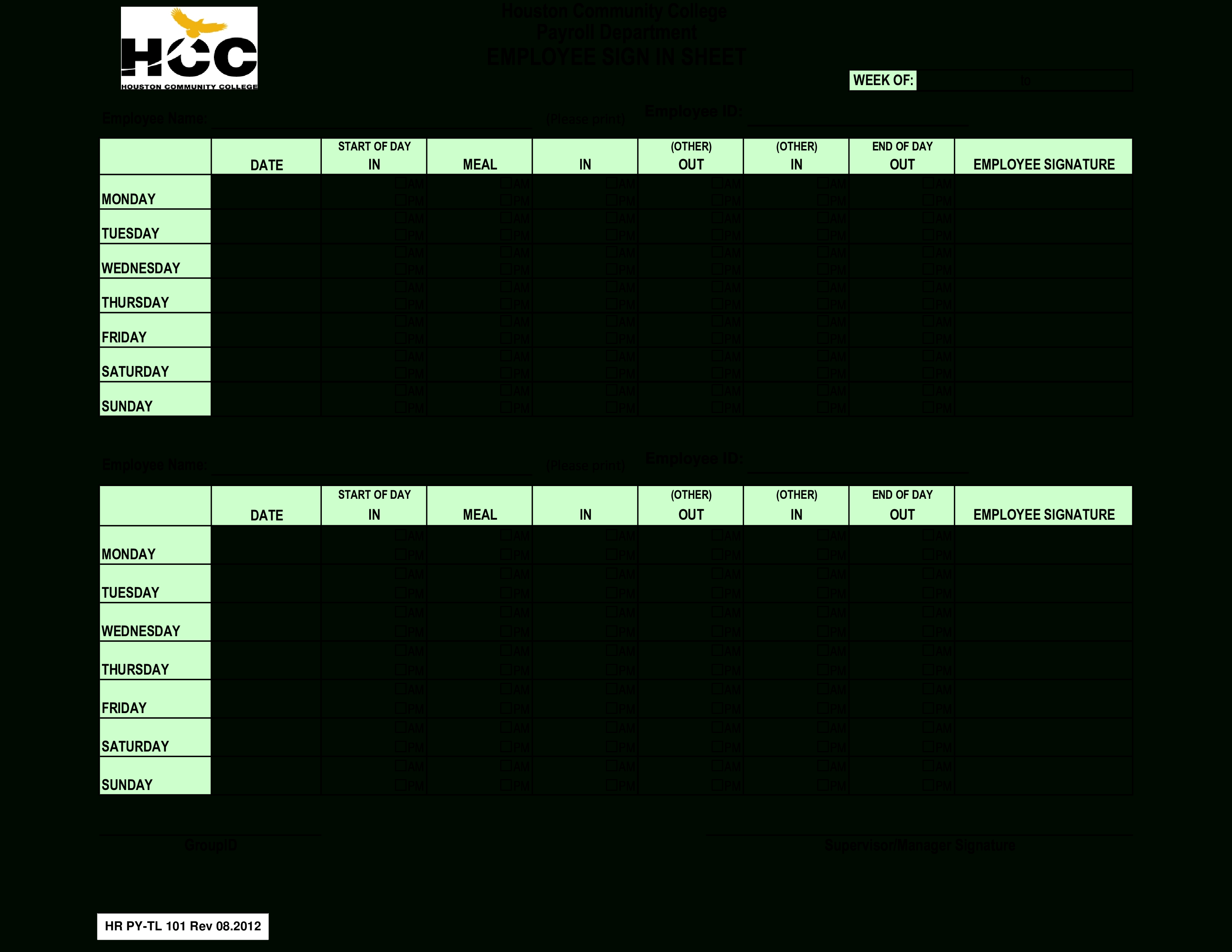 Free Employee Payroll Sign In Sheet | Templates At In Payroll Sign In Sheet Template