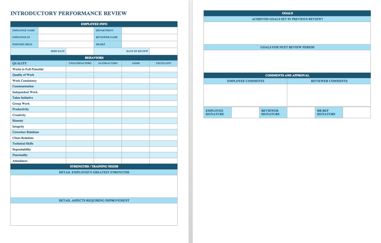 Free Employee Performance Review Templates   Smartsheet For Employee Kpi Template Excel