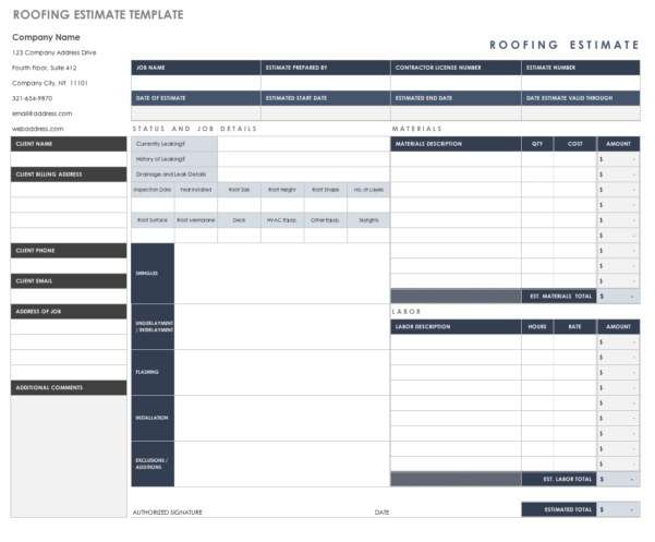 Free Estimate Templates | Smartsheet Within Estimating Templates For Construction
