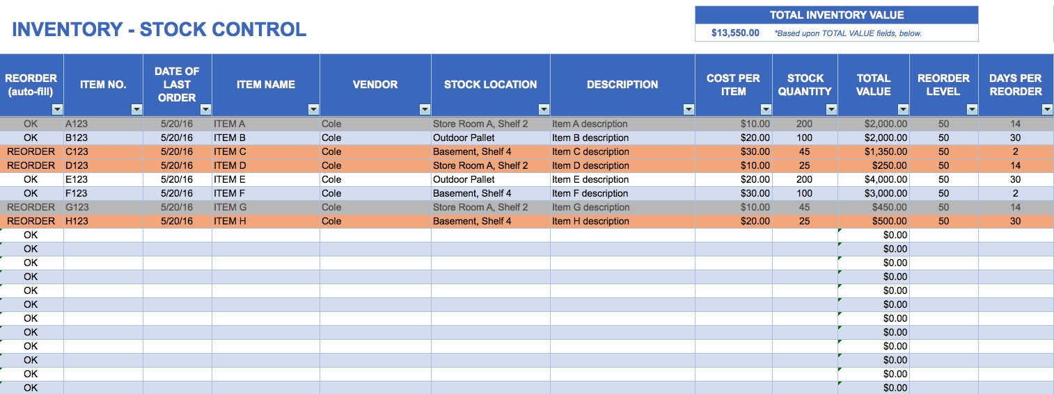 Free Excel Inventory Templates With Stock Control Template Excel For Stock Control Excel Spreadsheet Free