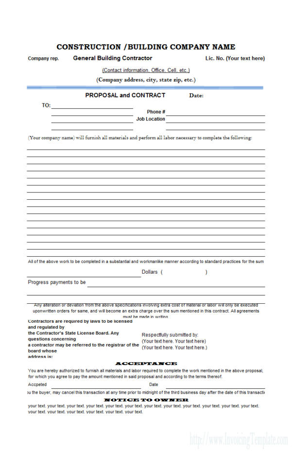 Free Excel Proposal Template For Construction Bid Form Excel