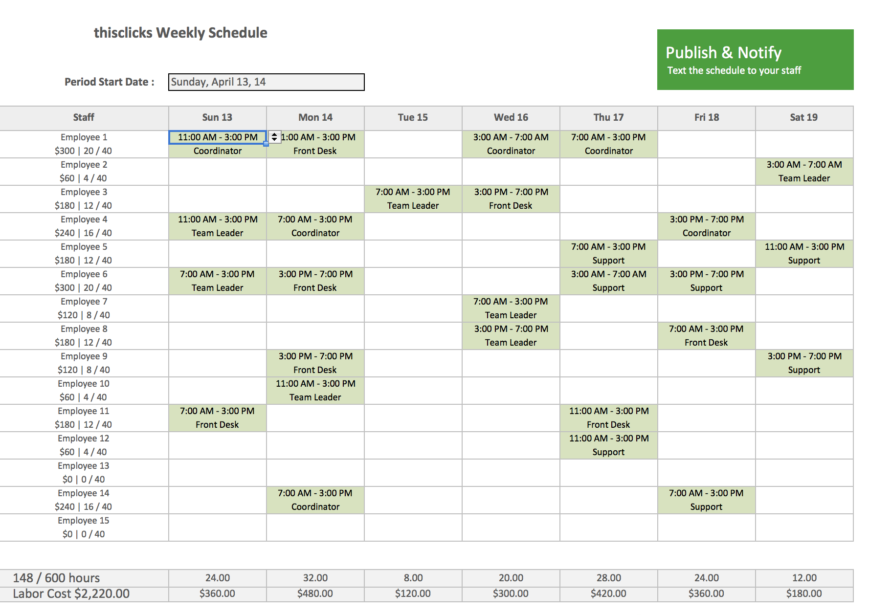 Free Excel Template Employee Scheduling Staff Schedule Work Schedule Intended For Printable Employee Schedule Templates