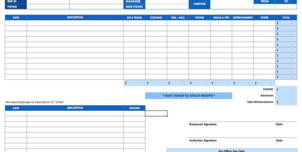 Free Expense Report Templates Smartsheet Inside Template For Spreadsheet