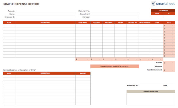 Free Expense Report Templates Smartsheet Intended For Sample Expense Spreadsheet