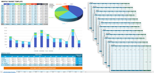 Free Monthly Budget Templates | Smartsheet Inside Monthly Budget Spreadsheet