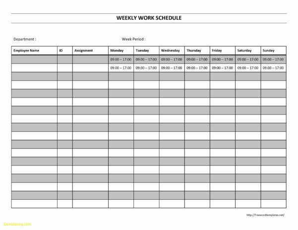 Free Monthly Schedule Templates Throughout Monthly Employee Schedule Template Free