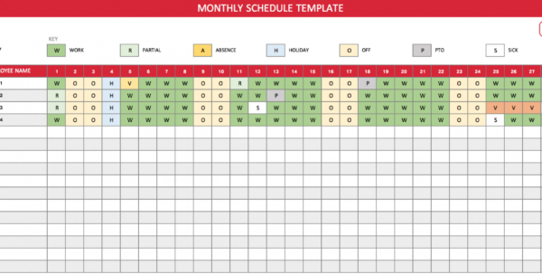 Free Monthly Work Schedule Template   Theminecraftserver   Best Throughout Monthly Staff Schedule Template