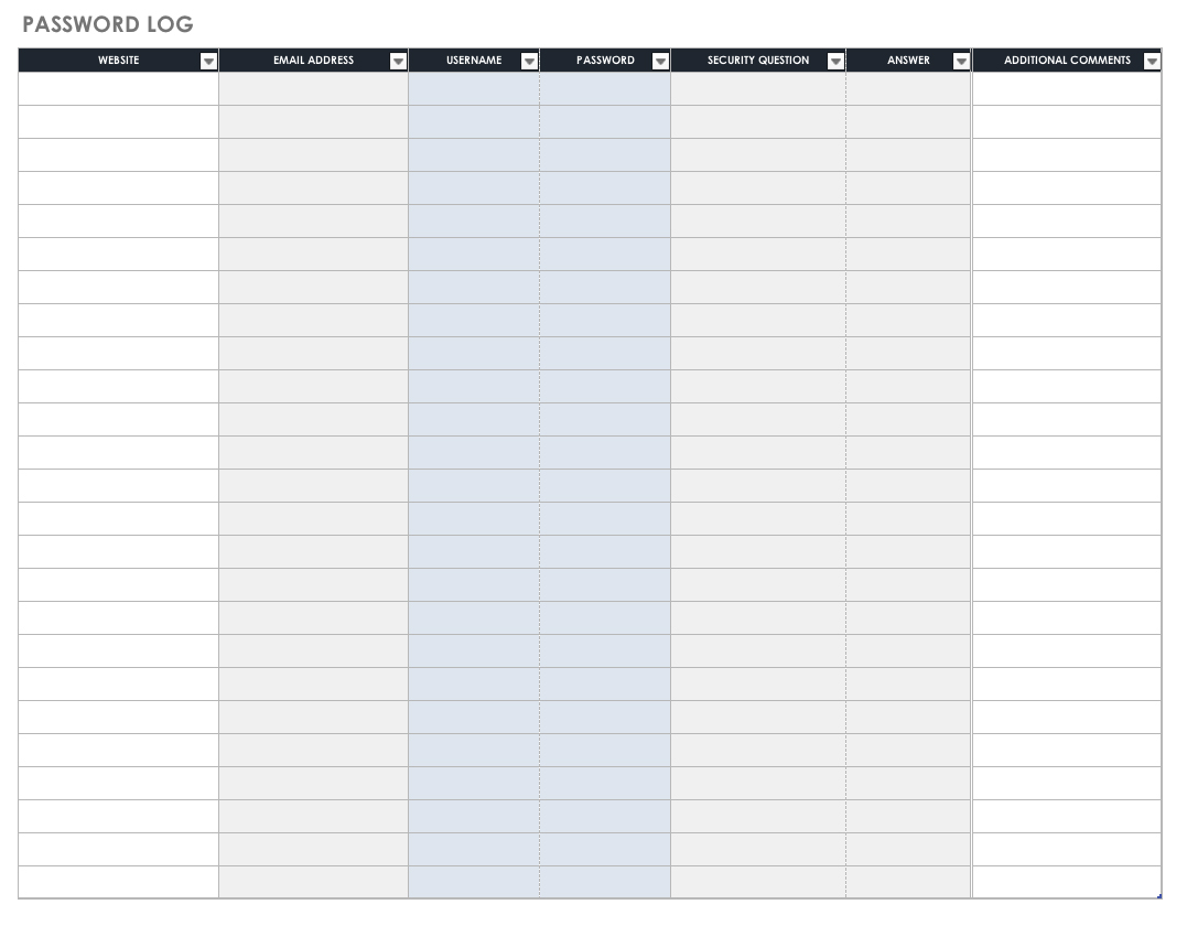 Free Password Templates And Spreadsheets   Smartsheet Intended For Free Printable Password Keeper