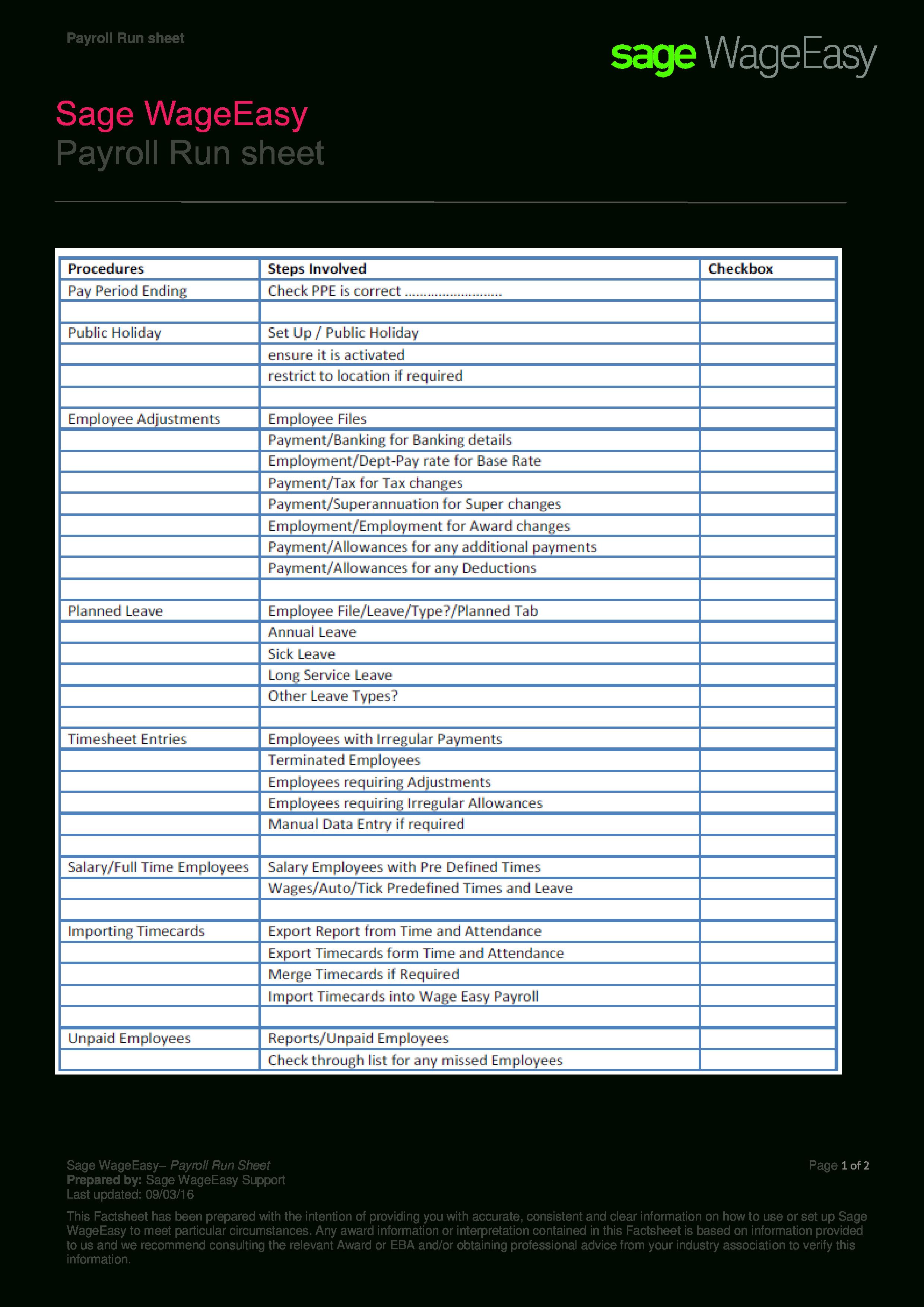 Free Payroll Run Sheet | Templates At Allbusinesstemplates In Free Payroll Sheet Template