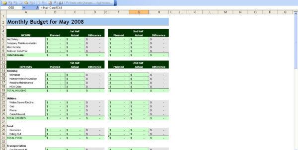 Free Personal Budget Spreadsheet Page Excel Finance Worksheet And Personal Budget Finance
