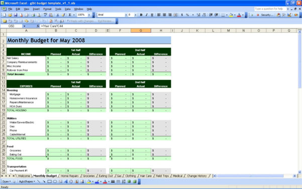 Free Personal Budget Spreadsheet Page Excel Finance Worksheet Inside Personal Budget Spreadsheet Templates