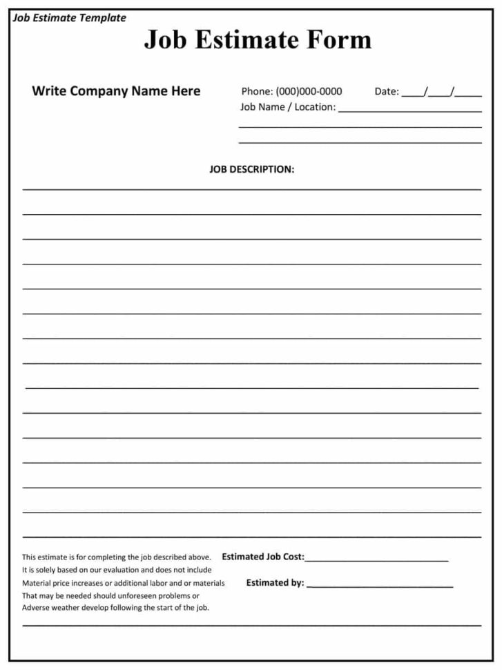 Free Printable Construction Estimate Template #2907   Searchexecutive And Construction Estimate Forms Free