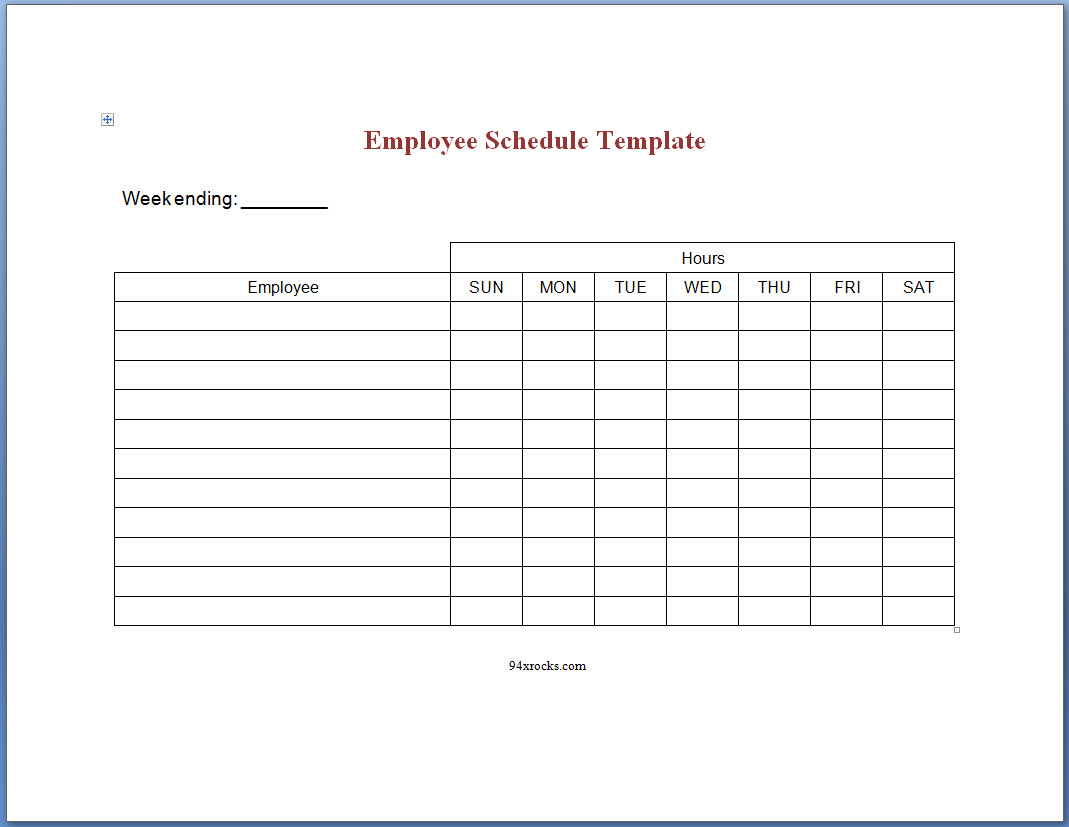 Free Printable Employee Schedule Template   94Xrocks With Employee Schedule Templates
