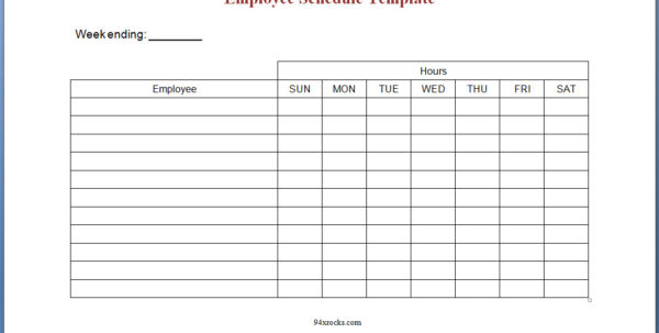 Free Printable Employee Schedule Template   94Xrocks With Printable Employee Schedule Templates