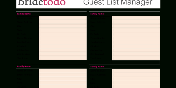 Free Printable Wedding Guest List | Templates At In Wedding Guest List Spreadsheet Template