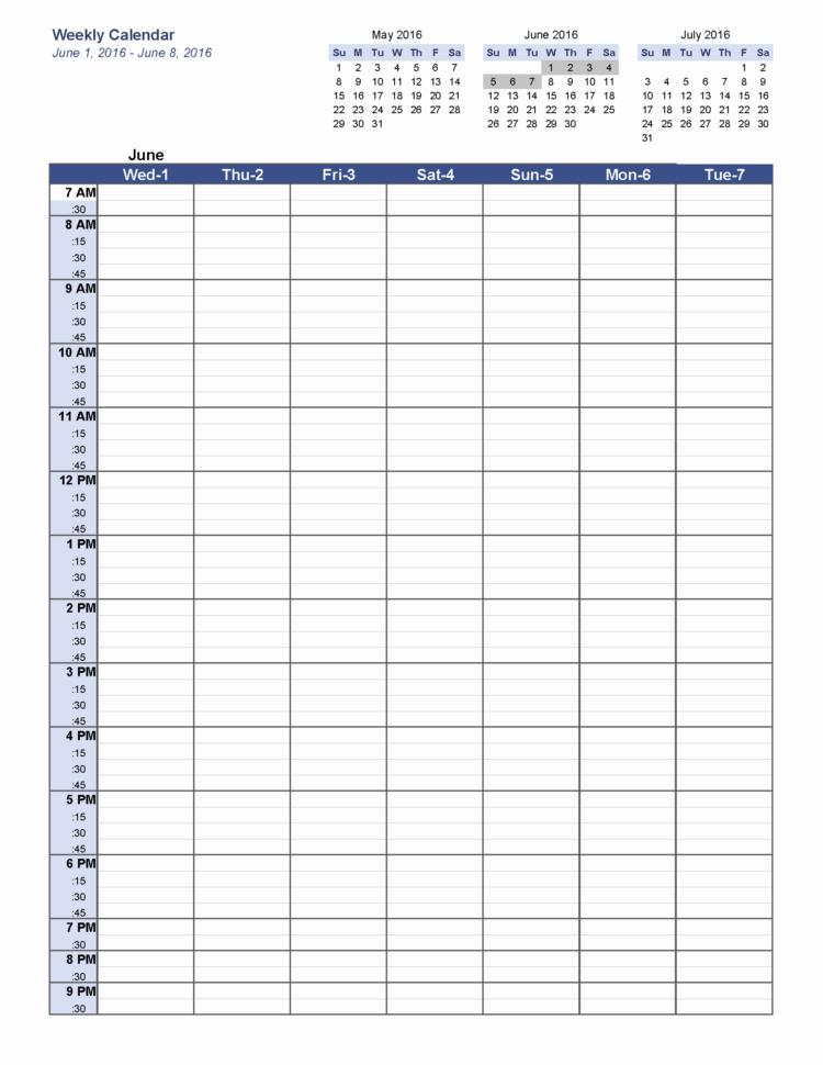 Free Printable Weekly Calendar June 2016 Weekly Calendar Blank For Blank Worksheet Templates