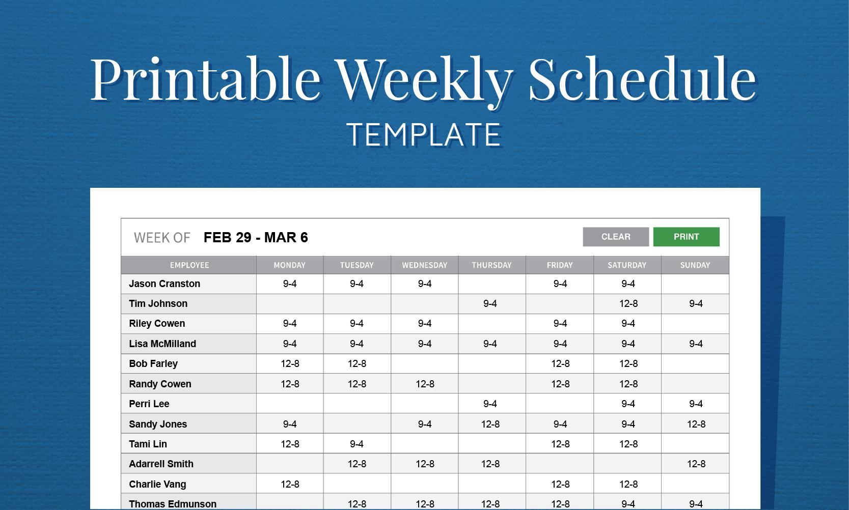 Free Printable Weekly Work Schedule Template For Employee Scheduling And Employee Schedule Templates Free