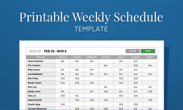 Free Printable Weekly Work Schedule Template For Employee Scheduling And Employee Weekly Schedule Template Excel
