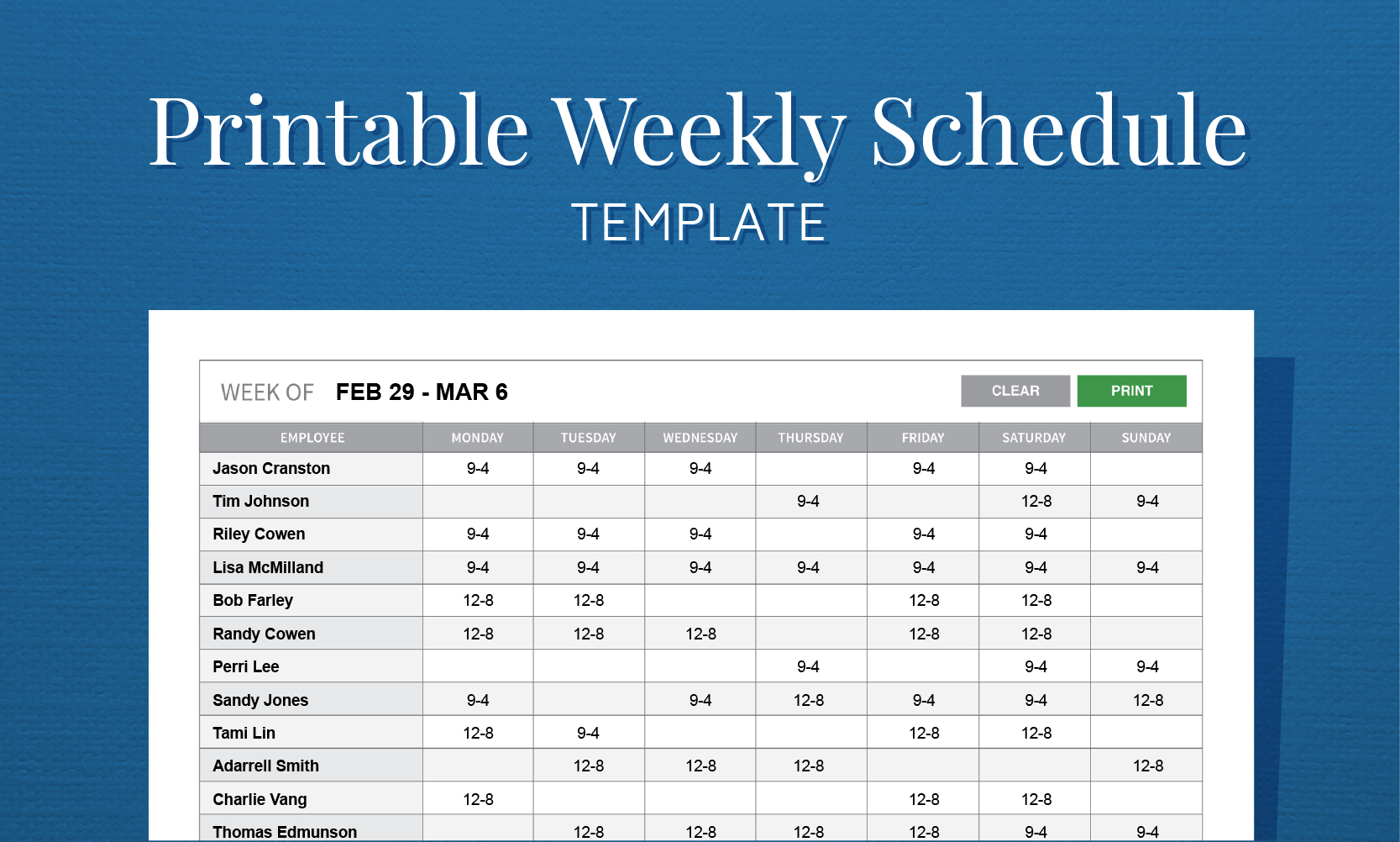 Free Printable Weekly Work Schedule Template For Employee Scheduling In Employee Work Schedule Spreadsheet