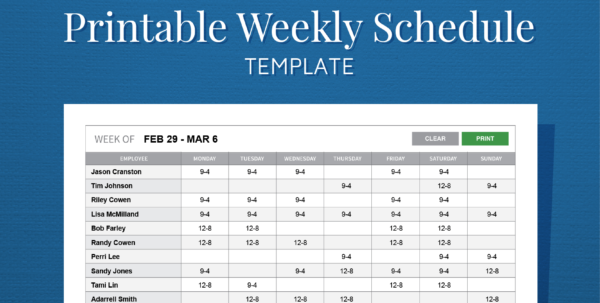 Free Printable Weekly Work Schedule Template For Employee Scheduling Throughout Employee Schedule Format
