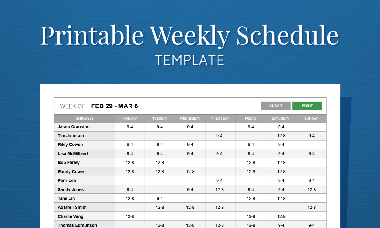 Free Printable Weekly Work Schedule Template For Employee Scheduling With Employee Weekly Schedule Template