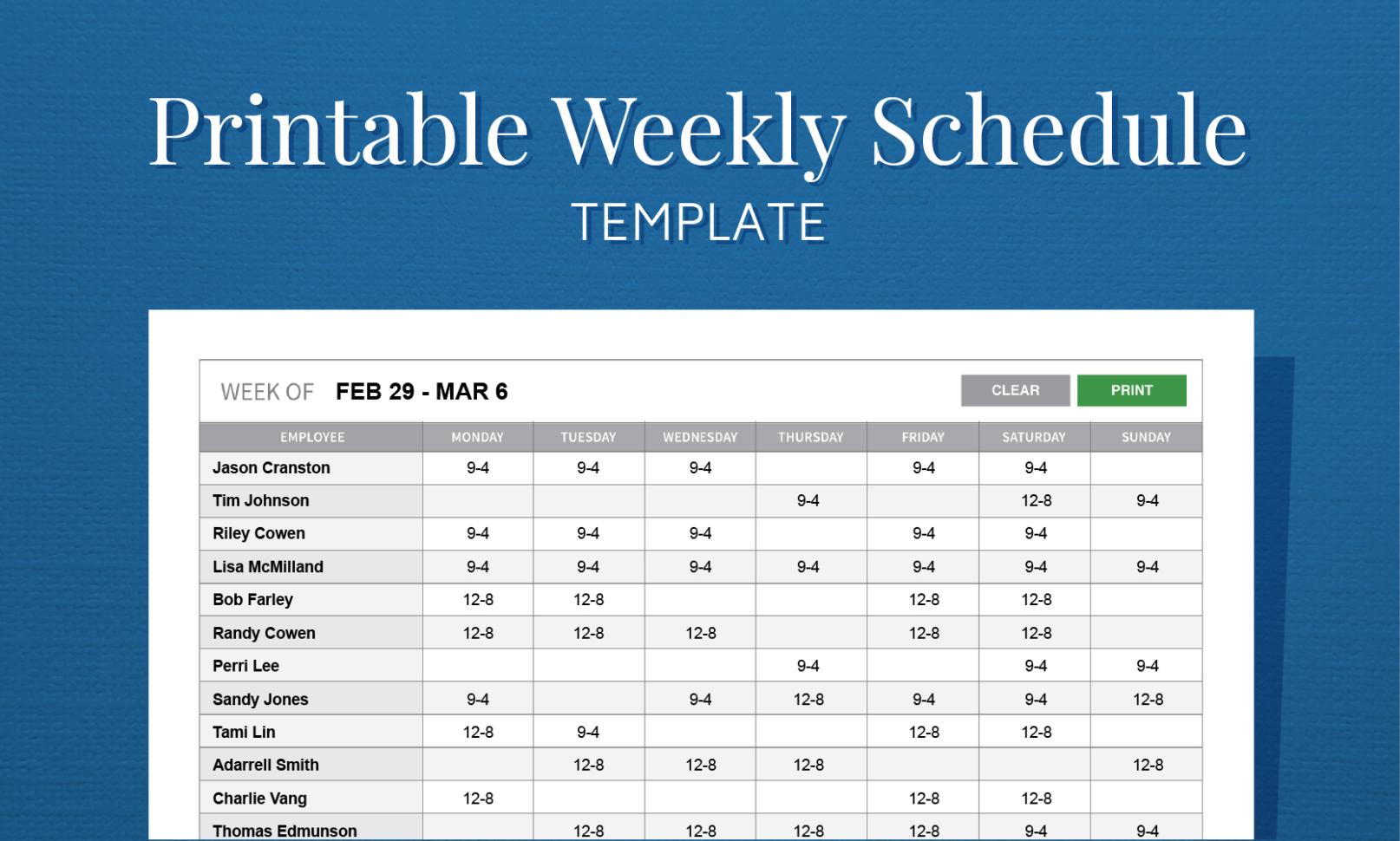 Free Printable Weekly Work Schedule Template For Employee Scheduling With Printable Employee Schedule Templates