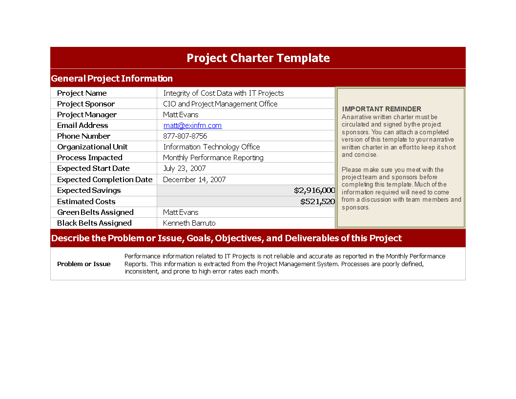 Free Project Charter Template | Templates At Allbusinesstemplates Intended For Project Management Charter Templates