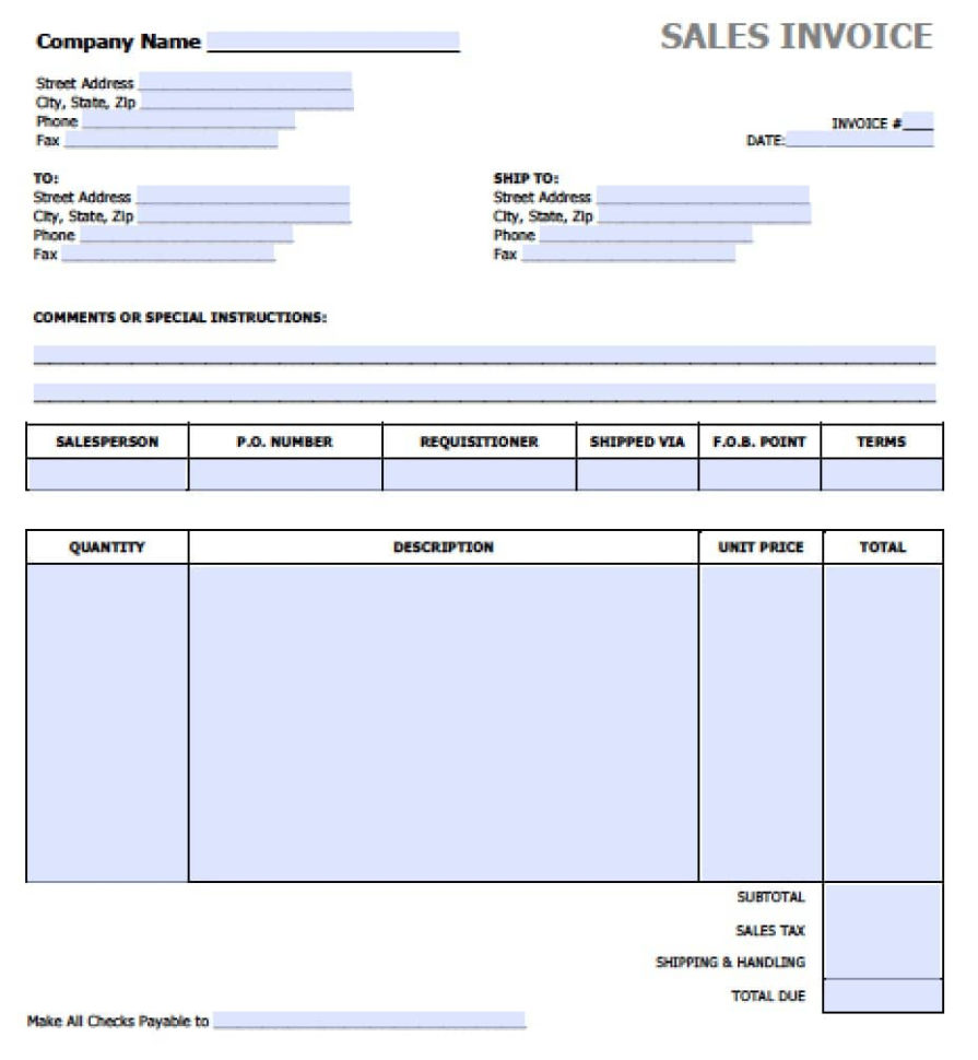 Free Sales Invoice Template | Excel | Pdf | Word (.doc) Intended For Excel Spreadsheet Invoice Template