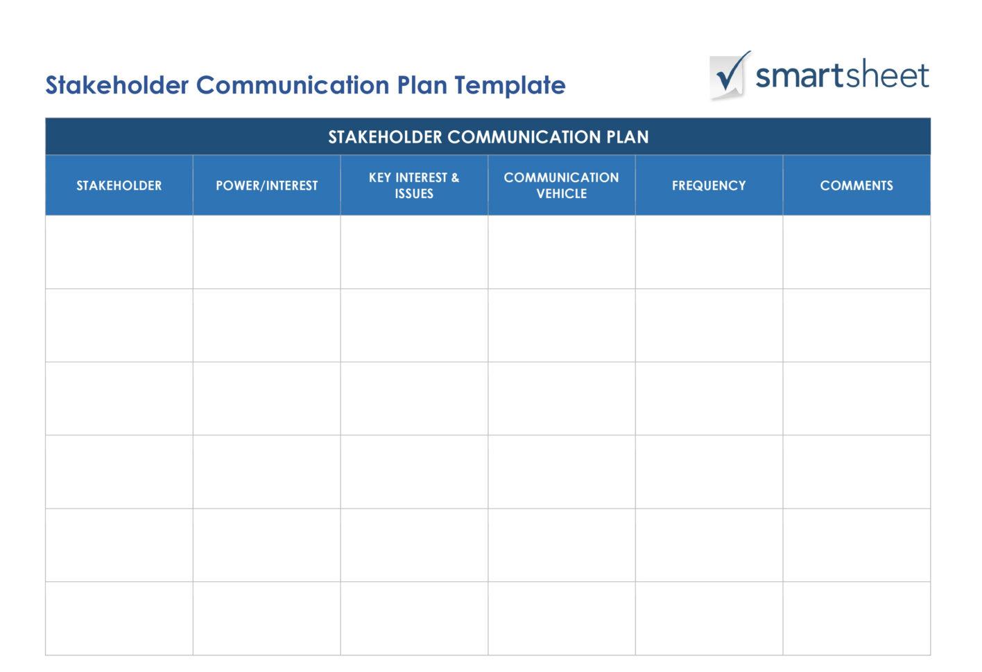 Free Stakeholder Analysis Templates Smartsheet intended ...