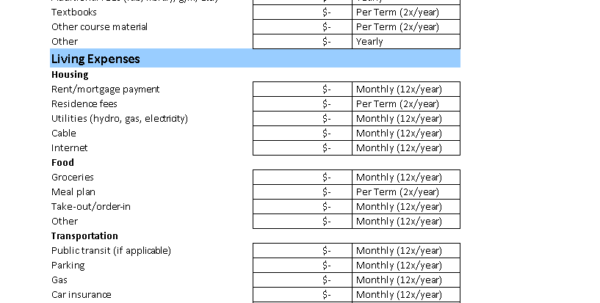 Free Student Monthly Budget Worksheet | Templates At To Monthly Financial Budget Template