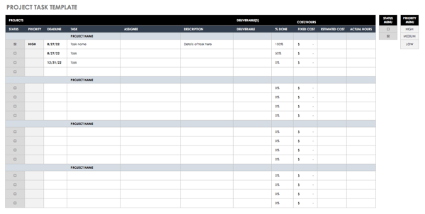 Free Task And Checklist Templates | Smartsheet Intended For Task Spreadsheet Template