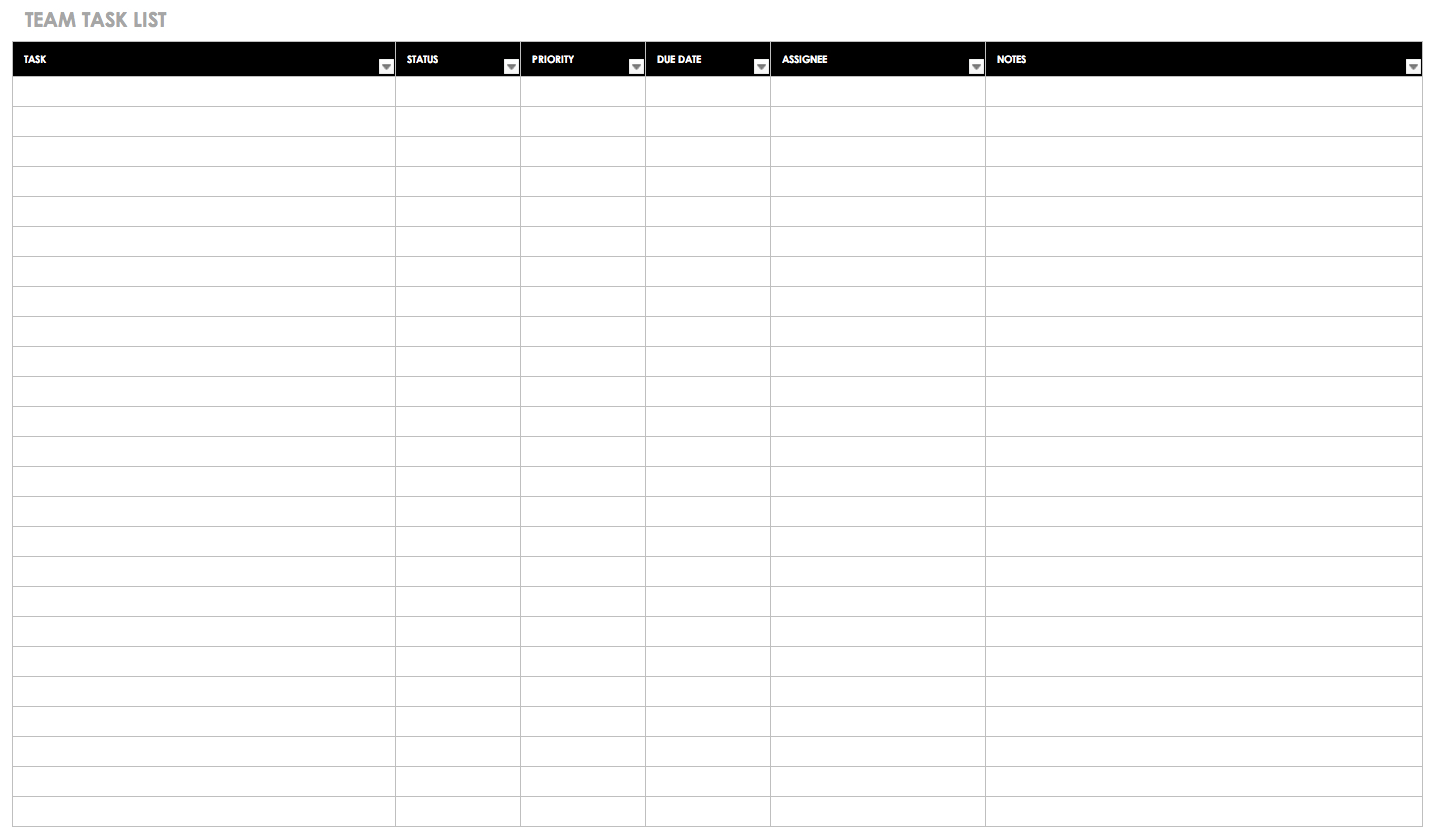 Free Task And Checklist Templates   Smartsheet To Task Tracking Spreadsheet Template
