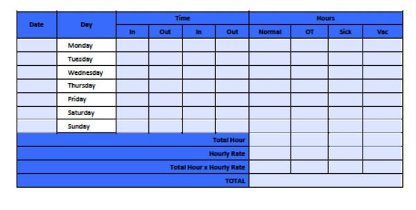 Free Timesheet Invoice Template | Excel | Pdf | Word (.doc) To Payroll Sign In Sheet Template