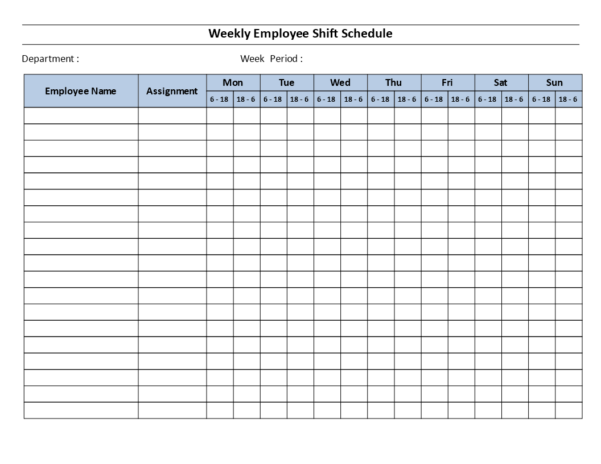 Free Weekly Employee 12 Hour Shift Schedule Mon To Sun | Templates With Employee Shift Schedule Template