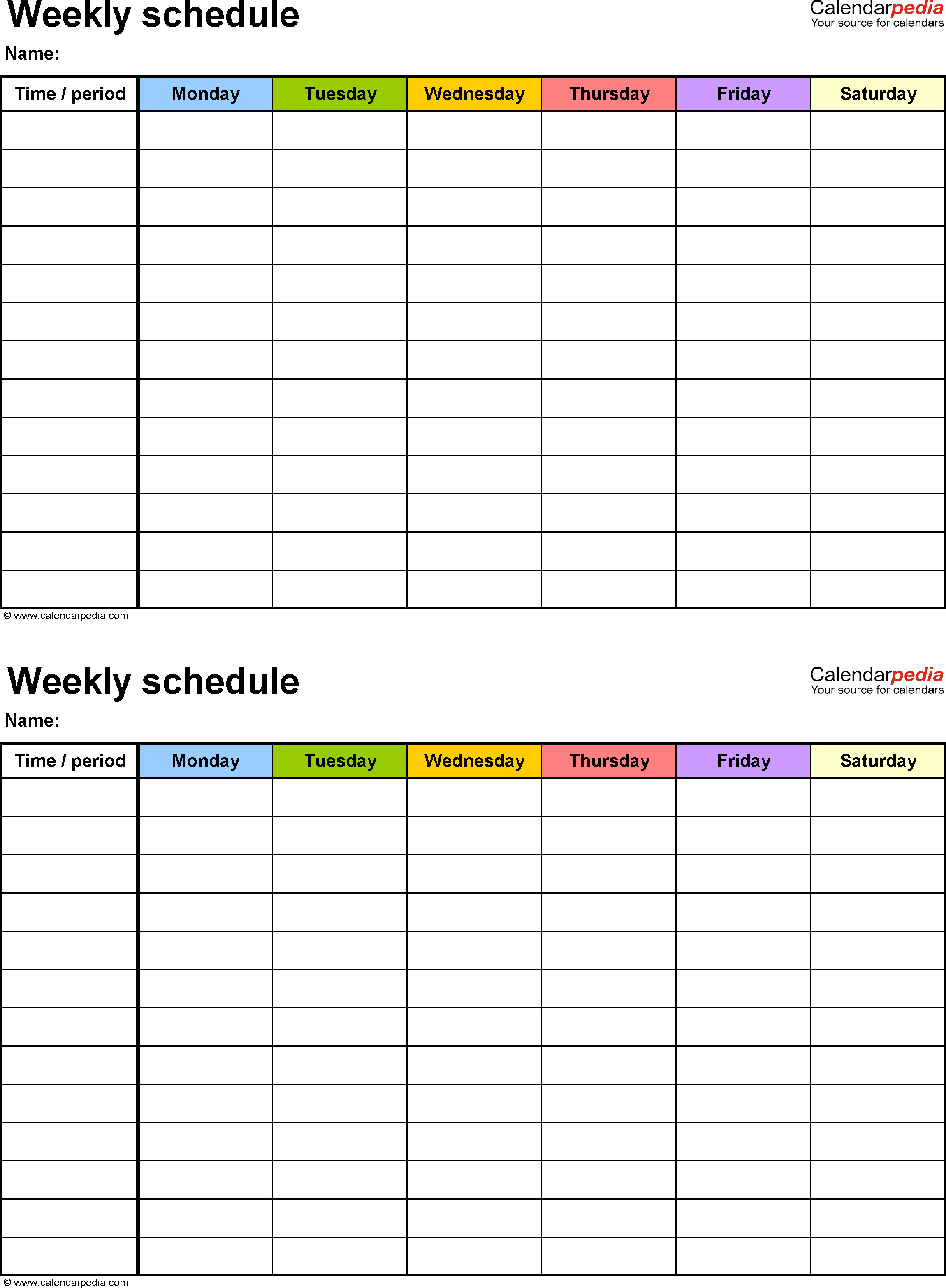 Free Weekly Schedule Templates For Excel   18 Templates And Schedule Spreadsheet Template