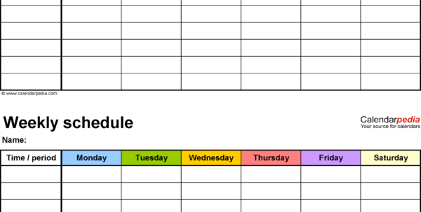 Free Weekly Schedule Templates For Excel   18 Templates In Excel Spreadsheet Template Scheduling