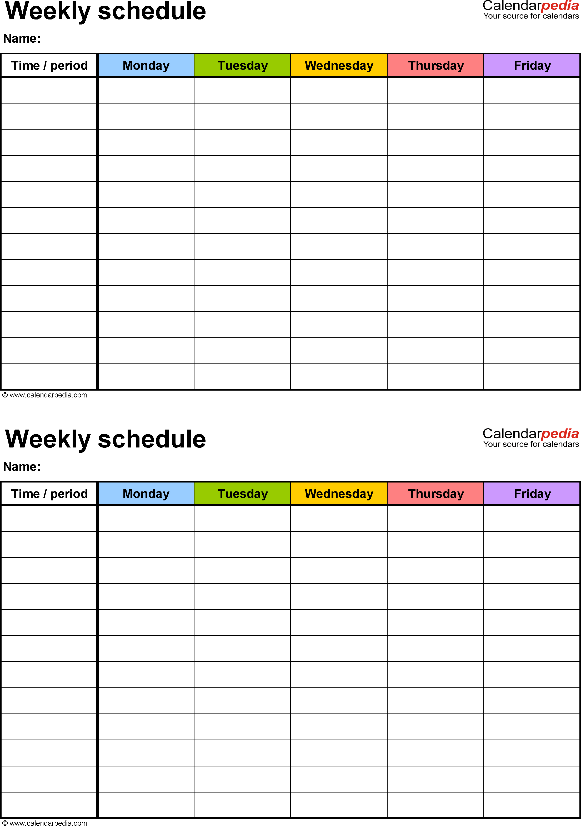 Free Weekly Schedule Templates For Excel   18 Templates Within Monthly Work Schedule Template Pdf
