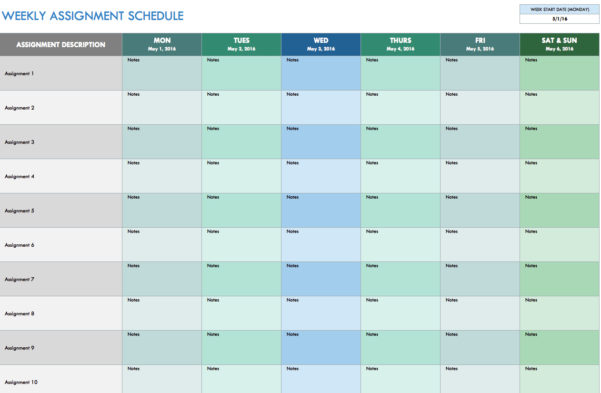 Free Weekly Schedule Templates For Excel   Smartsheet And Calendar Spreadsheet
