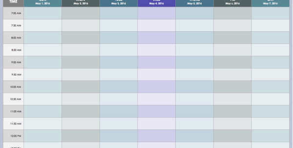 Free Weekly Schedule Templates For Excel   Smartsheet And Excel Spreadsheet Template Scheduling