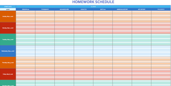 Free Weekly Schedule Templates For Excel   Smartsheet For Excel Spreadsheet Template Scheduling