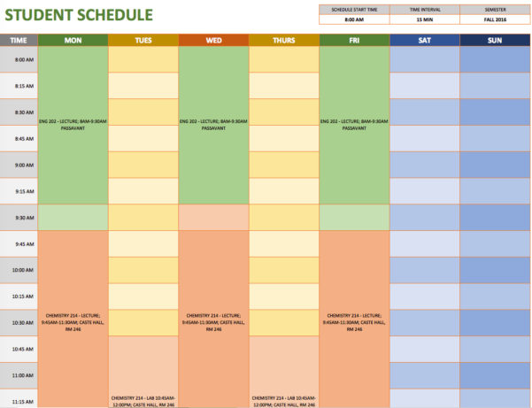 Free Weekly Schedule Templates For Excel   Smartsheet Inside Employee Weekly Schedule Template Excel