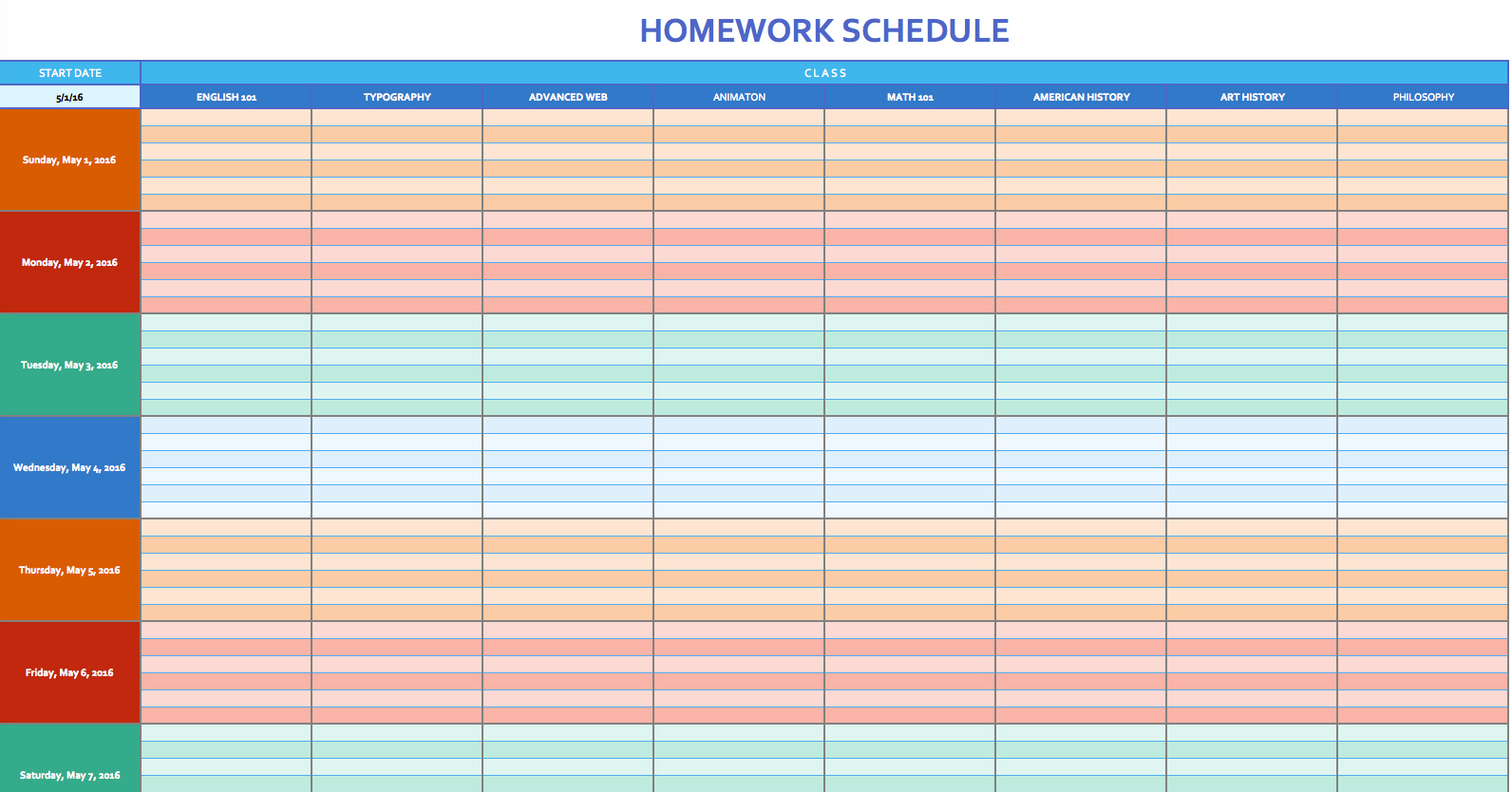 Free Weekly Schedule Templates For Excel   Smartsheet Inside Schedule Spreadsheet Template