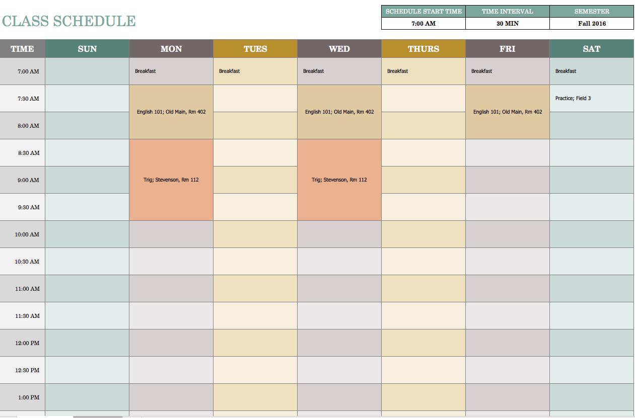Free Weekly Schedule Templates For Excel   Smartsheet Throughout Schedule Spreadsheet Template