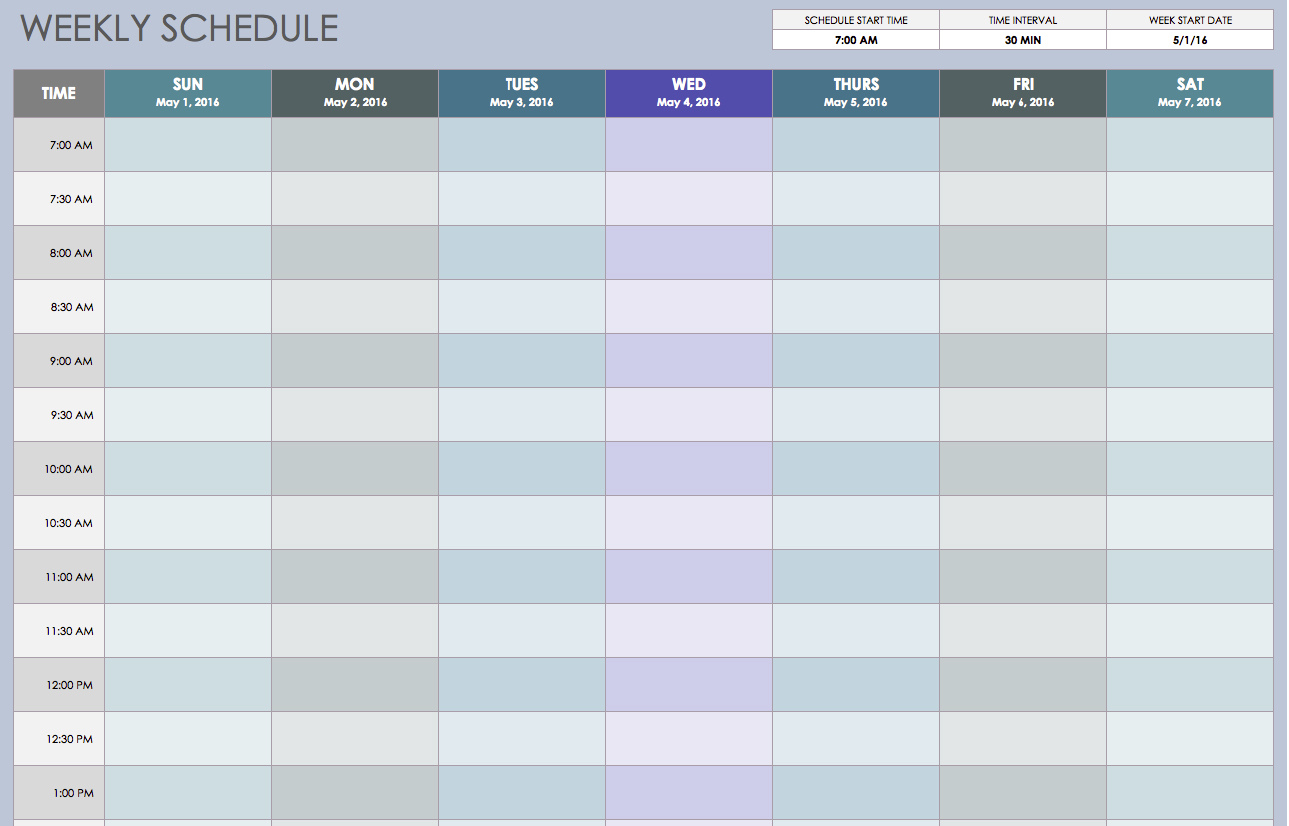 Free Weekly Schedule Templates For Excel - Smartsheet Throughout Schedule Spreadsheet Template
