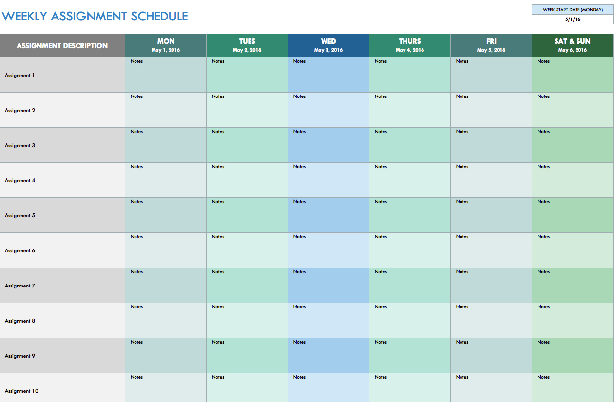 Free Weekly Schedule Templates For Excel   Smartsheet With Spreadsheet Template Excel