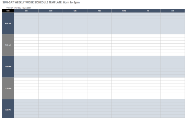Free Work Schedule Templates For Word And Excel For Employee Weekly Schedule Template