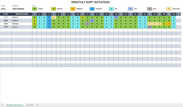 Free Work Schedule Templates For Word And Excel Inside Monthly Employee Schedule Template